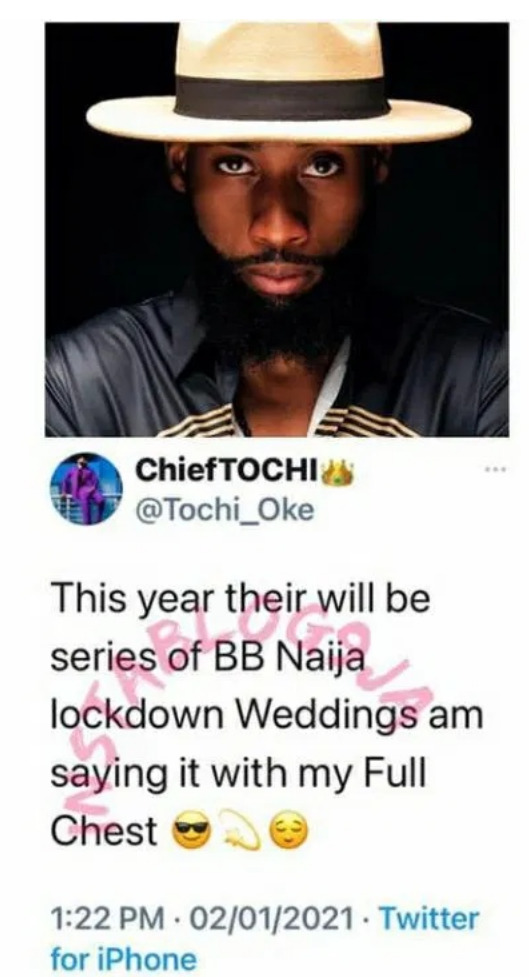"""""""There Would Be BBNaija Weddings This Year"""" – BBNaija's Tochi Hints With His Full Chest"""