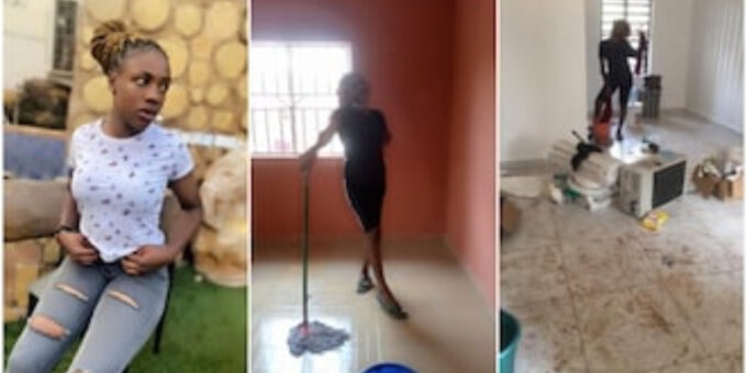 Nigerian lady who is a cleaner showcases her hustle without shame - See how people supported her