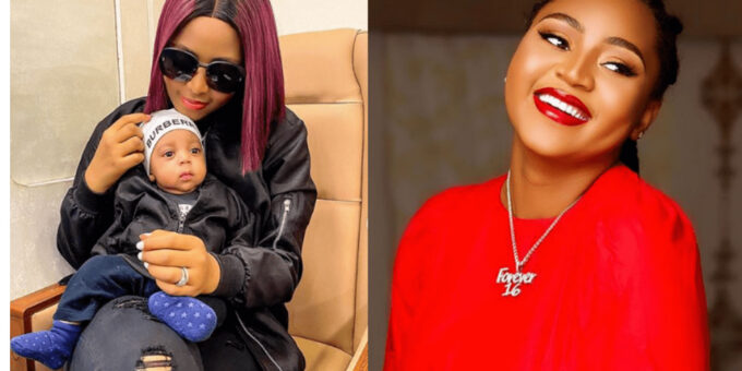 Regina Daniels' Son, Prince Munir Shines Bright In A Yellow Outfit With Mother (Video)