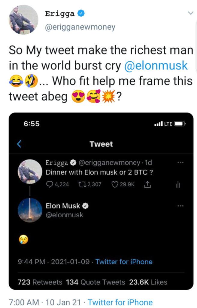 'My Tweet Made The World's Richest Man Cried' – Erigga Celebrates After Elon Musk Replied His Tweet