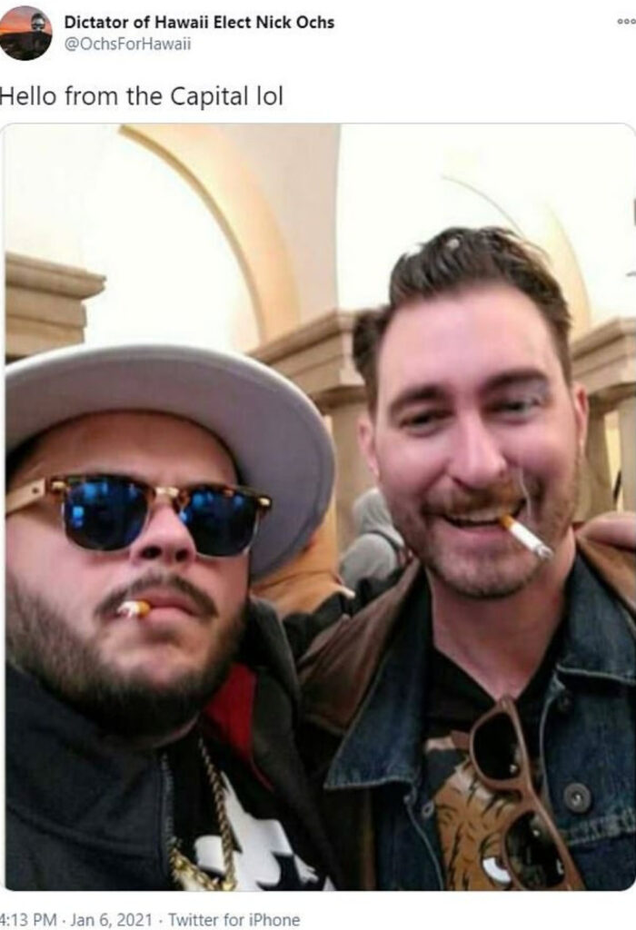 Proud Boys leader, Nicholas Ochs who shared photo of himself smoking inside US Capitol during riot claims he was acting as a 'journalist' after being arrested