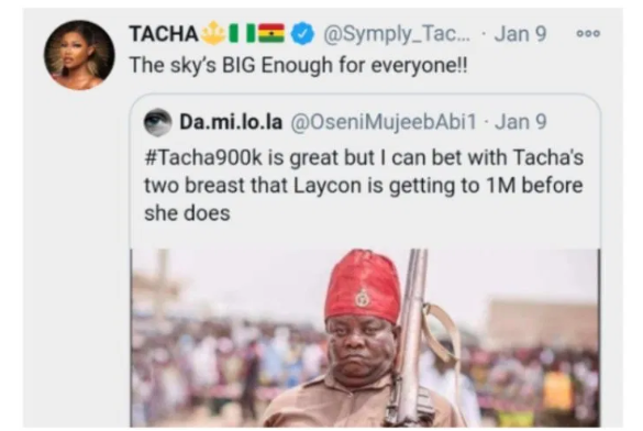 """The Sky Is BIG Enough For Everyone"" – Tacha REPLIES Fan Who Compared Her With Laycon Over This"