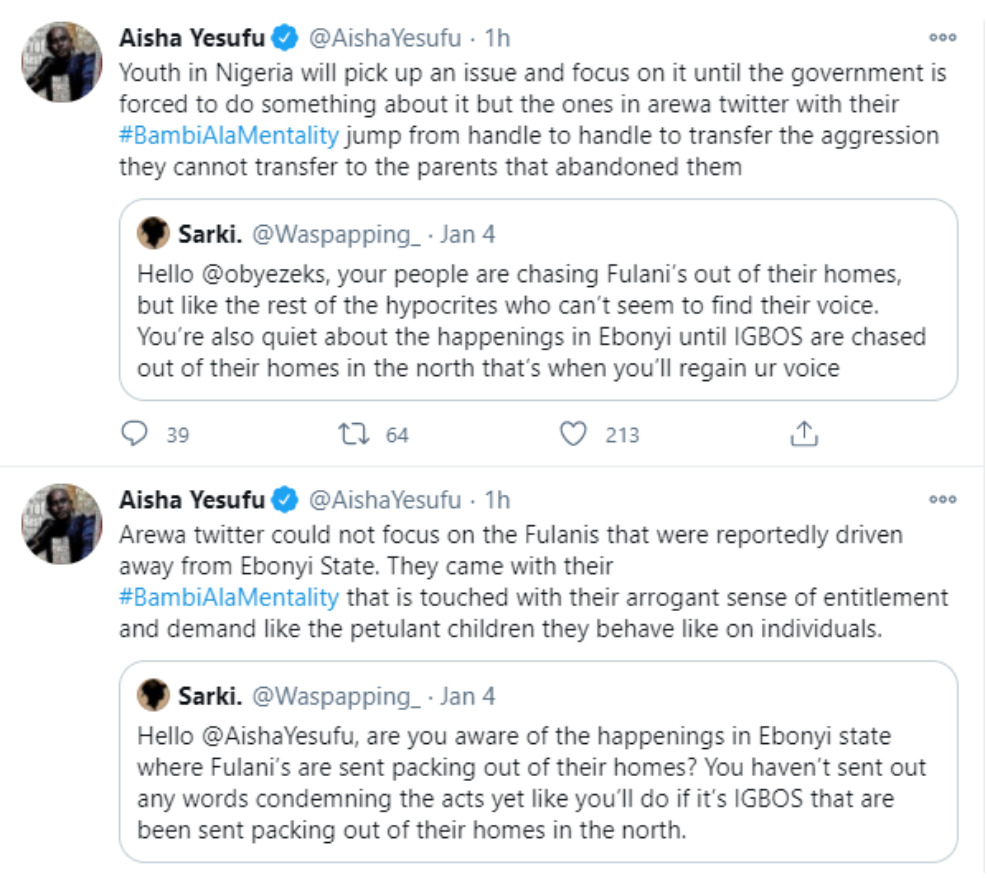 Aisha Yesufu drags Arewa youths, describes them as 'Oxygen Wasting Vessels' with BAmiAlaMentality'