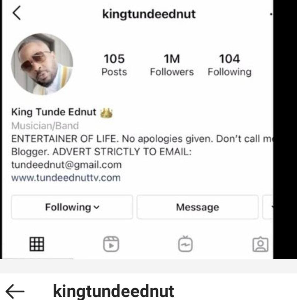 Instagram suspends Tunde Ednut's account again