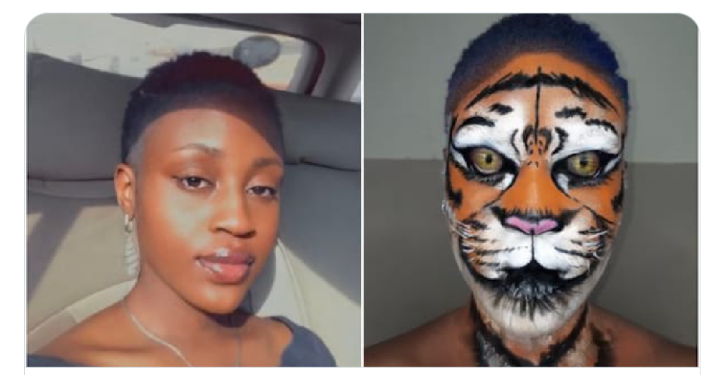 Nigerian lady paints her face to look like a tiger, photos go viral