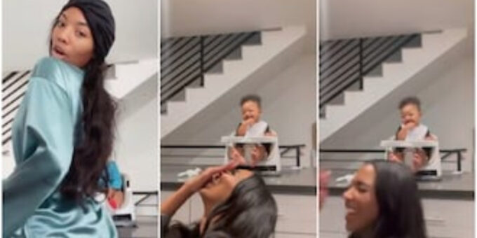 Little baby laughs hard as mum tries to twerk for the gram