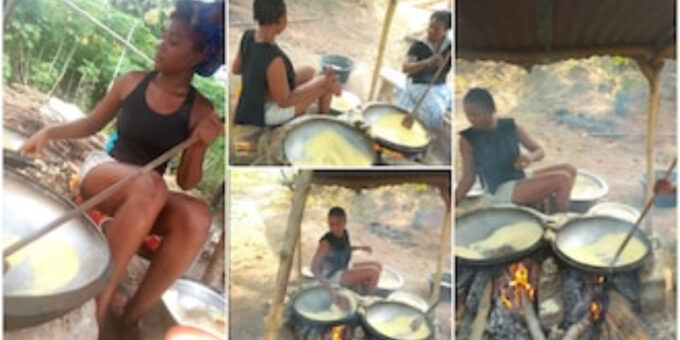Nigerian lady who fries yellow garri for a living showcases her work