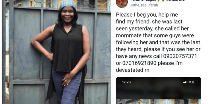 Lady reportedly goes missing after calling to report some men following her