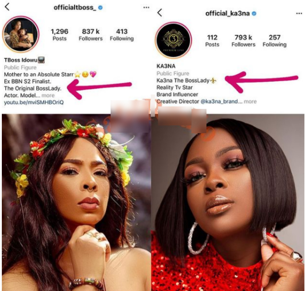 BBNaija TBoss And Ka3na Battle Fiercely Over The Title Of 'Boss Lady'