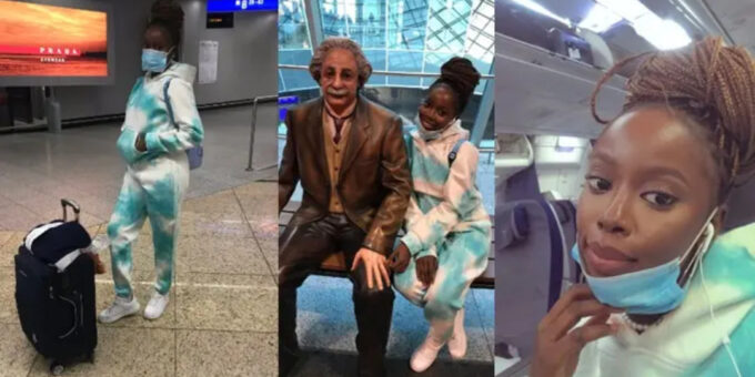 Young lady says goodbye to Nigeria as she lands in Germany