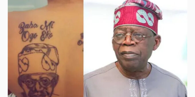 Lady tattoos Bola Tinubu's face on her back (Photos)