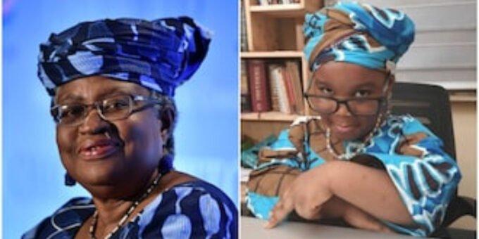 Okonjo Iweala honours 4 year old girl who modelled her look with ankara cloth, many rejoice