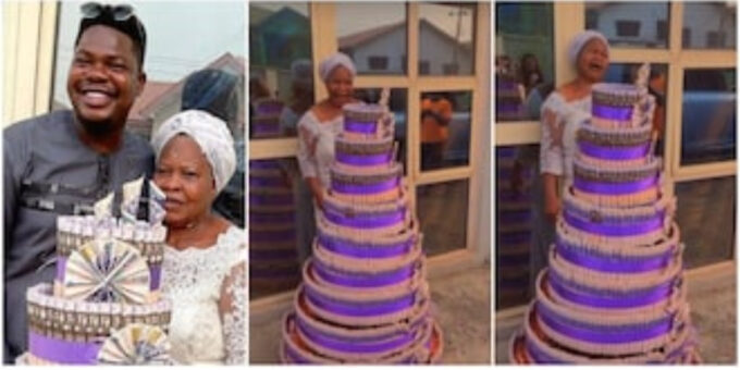 Mr Macaroni's mum burst into tears as comedian gifts her with huge money cake for birthday