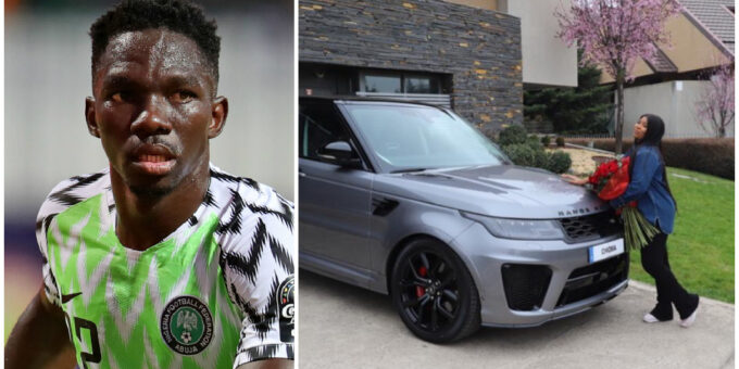 Super Eagles star surprises his wife on birthday, buys her brand new Range Rover 2021 Velar worth over N100m
