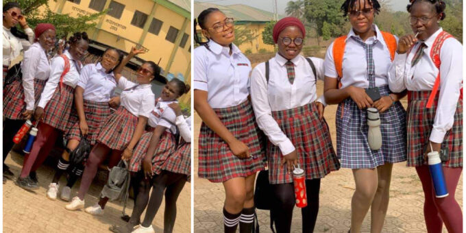 Final year students set social media on fire; wear old secondary school-like dresses for FYB week