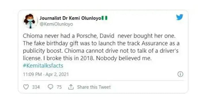 """Davido Never Bought Chioma A Porsche, It Was F@ke Birthday Gift"" – Kemi Olunloyo Reveals"