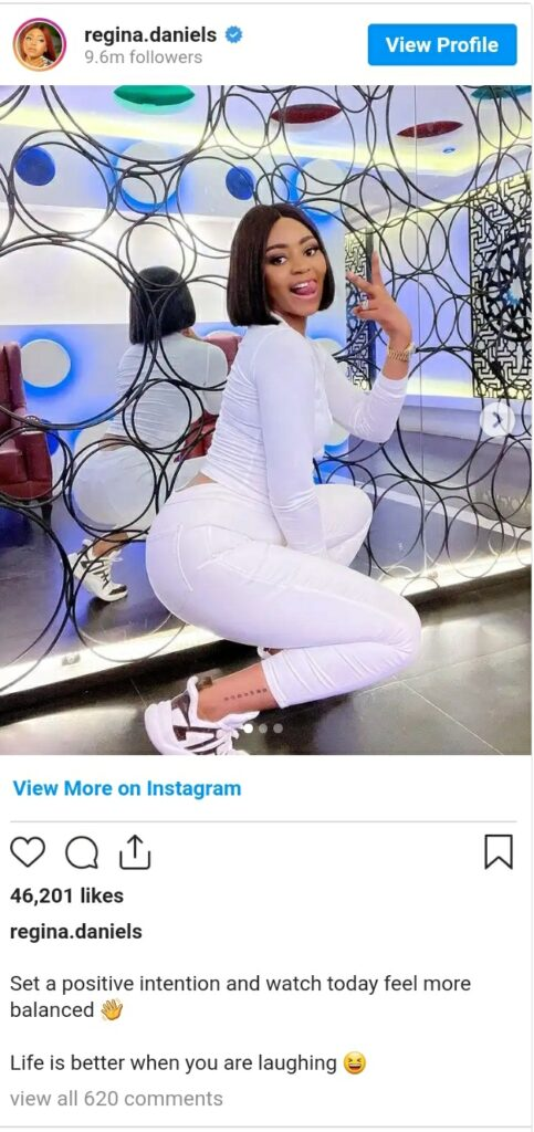 Life Is Better When You Are Smiling – Regina Daniels Tells Those Criticizing Her Over Her Choice