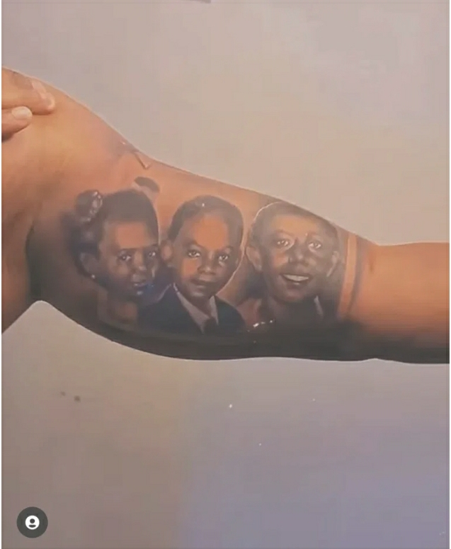 Falz Gets Tattoos Of His Parents, Sisters On His Arm- Photos
