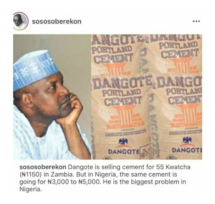 Dangote Accused Of Being Nigeria's Biggest Problem For This Reason