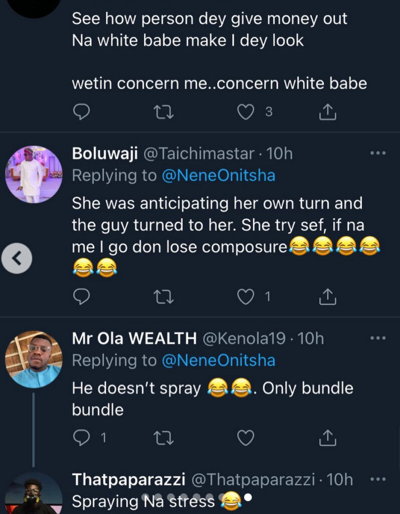 Lady grabs social media users' attention following her reaction to billionaire businessman Jowizaza throwing bundles of money at a wedding ceremony (video)
