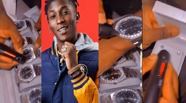 Singer, Bella Shmurda Flaunts His New Diamond Wristwatch And Earrings To Shame Haters [VIDEO]
