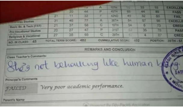 'She's Not Behaving Like A Human Being' – Teacher's Comment On A Student's Report Sheet Sparks Reactions