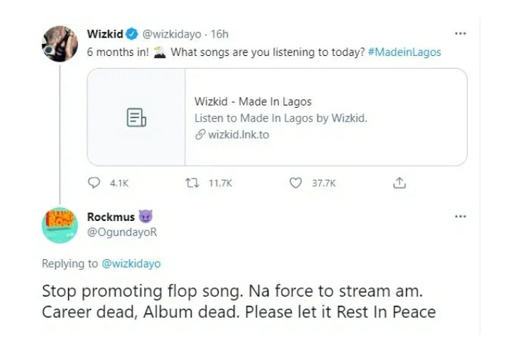 "Career Dead, Album Dead"" – Man Slams Wizkid For Promoting Made In Lagos six Months After Release"