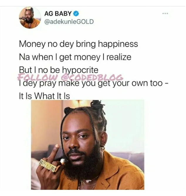 Money Doesn't Bring Happiness – Adekunle Gold Says After Getting Money