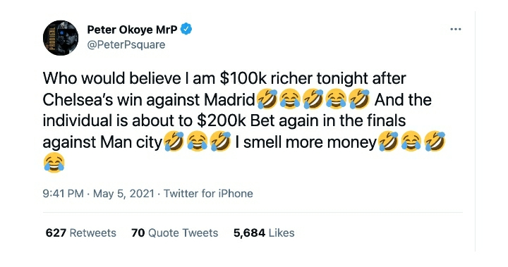 'I Am N48 Million Richer' – Peter Okoye Happy After Winning A Bet Following Chelsea's UCL Victory