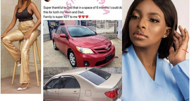 'Family Is Key' – BBNaija's Wathoni Says As She Gifts Her Mum And Dad A Car Each
