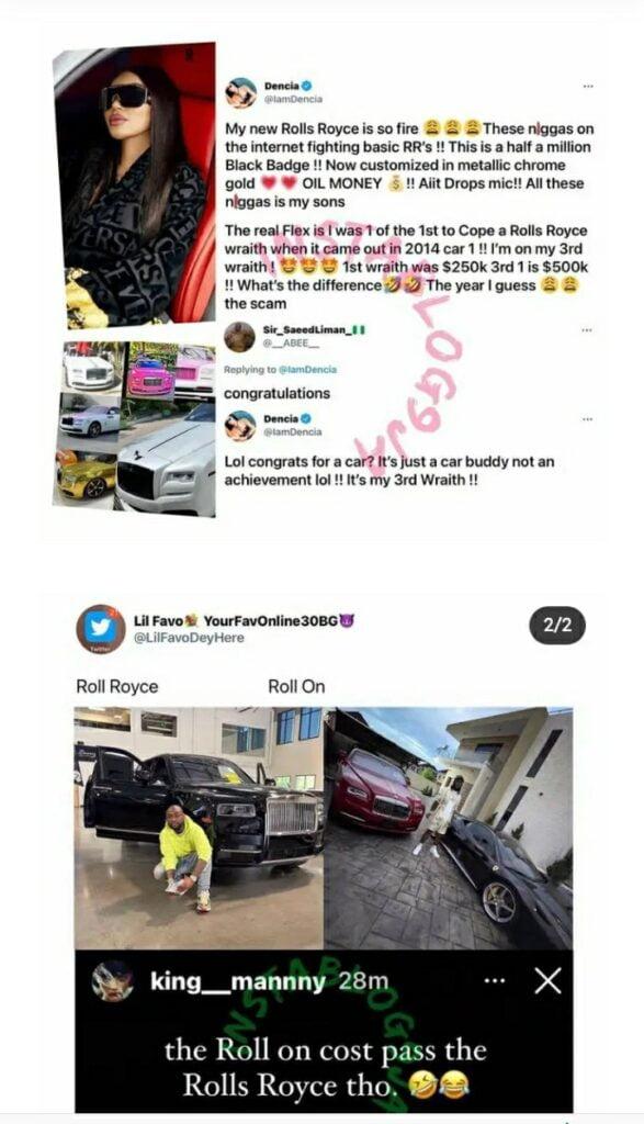 Dencia Shades Davido And Burna Boy As She Buys Her 3rd Rolls Royce