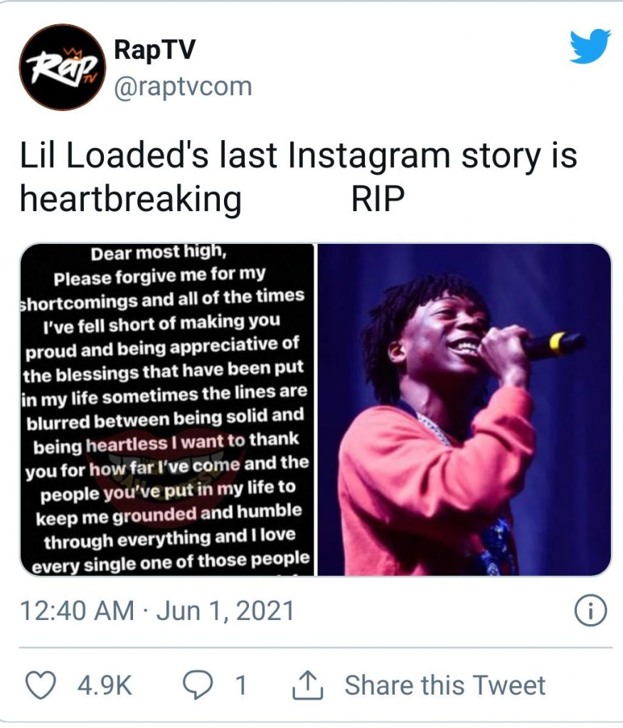 What was Lil Loaded's final Instagram Story