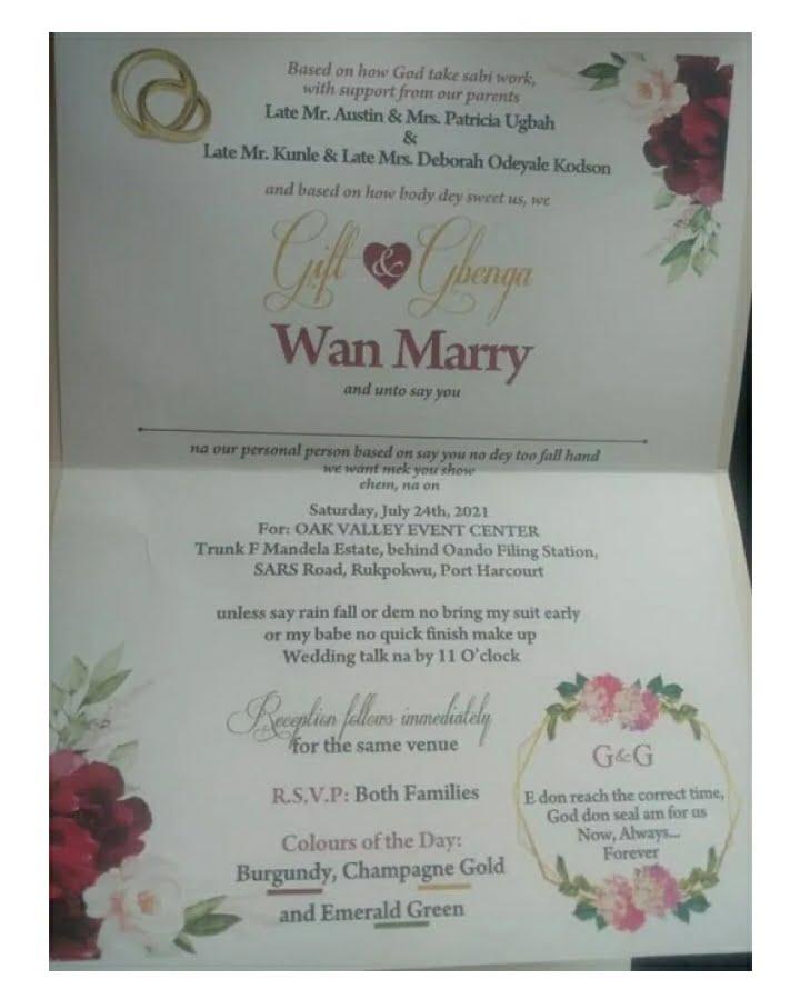 Nigerian Couple Design Their Wedding Invitation Card In Pidgin English