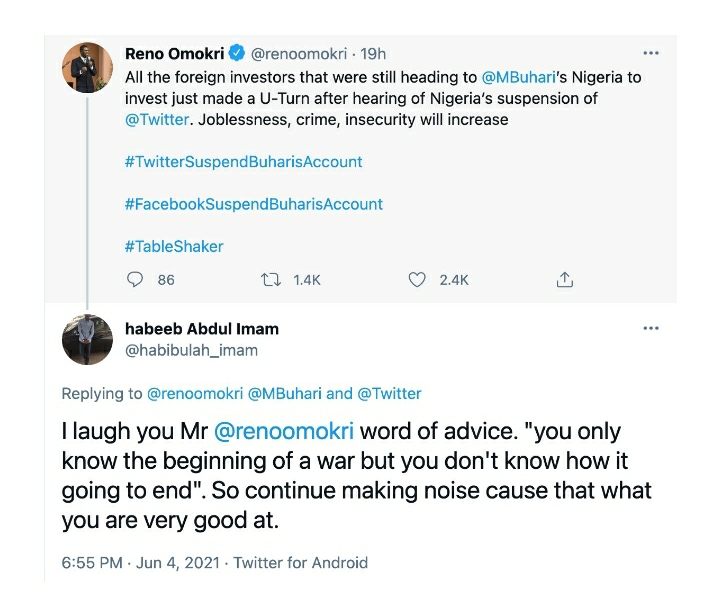 'You Are Only Good At Making Noise' – Social Media User Calls Out Reno Omokri