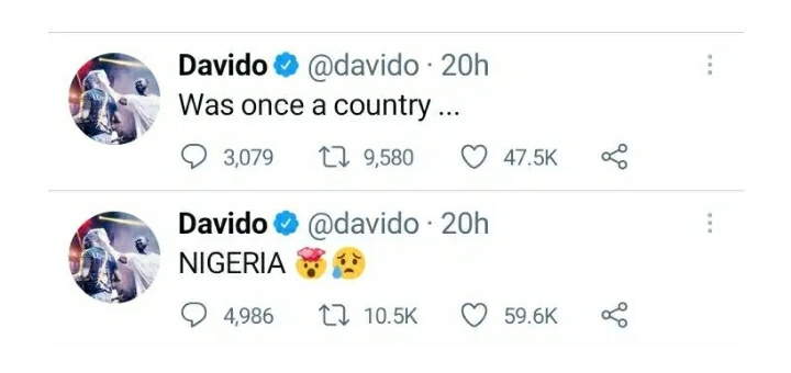 Nigeria Was Once A Country – Davido Expresses Disappoint In His Country