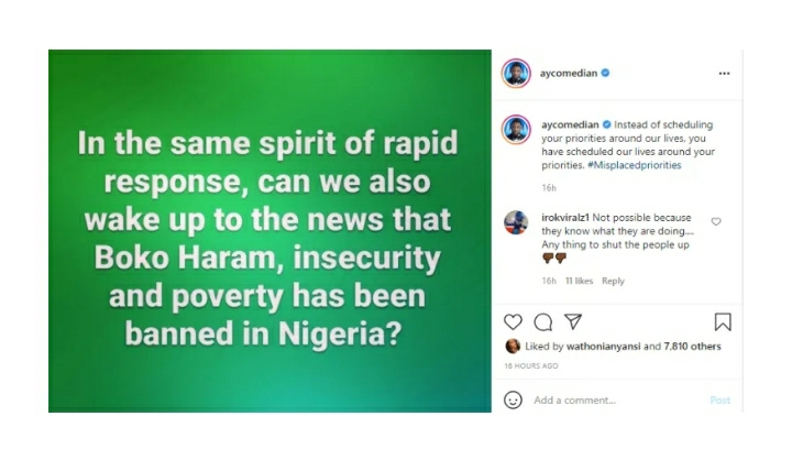 Can We Also Wake To The News That Boko Haram Has Been Banned – Comedian AY Blasts FG