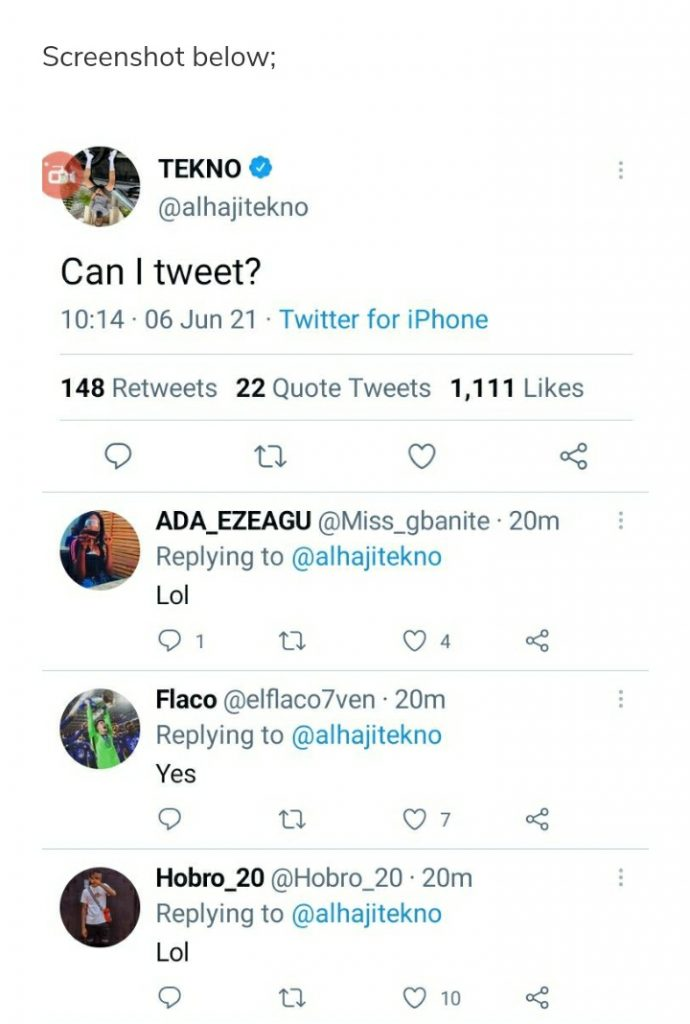 Tekno Scared Of Tweeting? – Asks Whether He Can Tweet