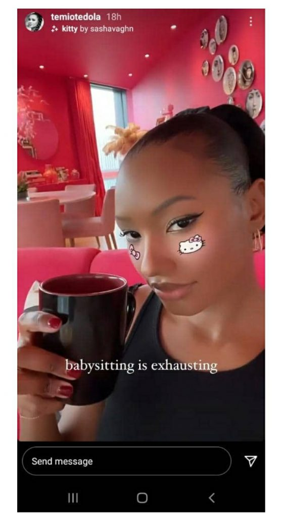 Baby Sitting Is Exhausting – Temi Otedola Laments After Spending Some Time With Her Nephews