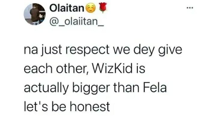 Reaction After A Wizkid Fan Claimed Wizkid Is Bigger Than Fela