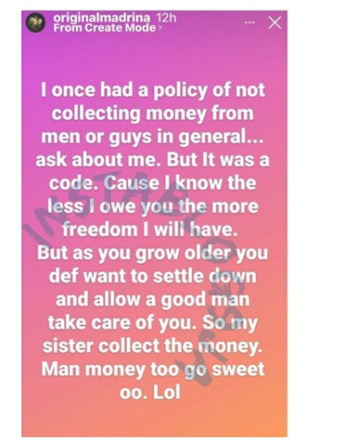 After Slamming Actress Eniola Badmus, Singer Cynthia Morgan Reveals Why She Now Collects Money From Men