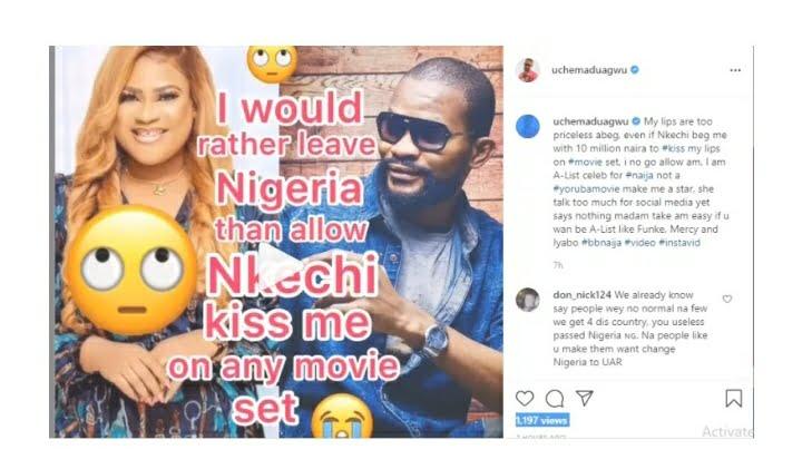 """""""She Talks Too Much"""" – Uche Maduagwu Slams Nkechi Blessing"""