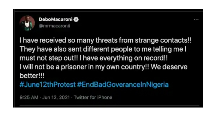 I Have Been Warned Not To Step Out But I Will Not Be A Prisoner – Comedian Macaroni