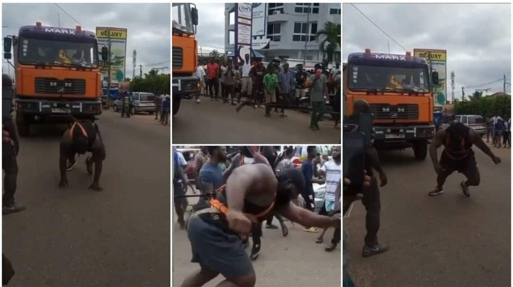 Powerful Man Pulls Trailer Using His Body in Viral Video, People Wonder How He Did It