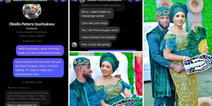 Nigerian Couple Who Met on Facebook Gets Married, Screenshots of Their First Chat Showed the Lady DMed him