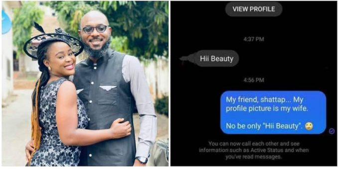 Nigerian Man Shares Facebook DM he Got from a Stranger after Changing Profile Picture to his Wife's Own