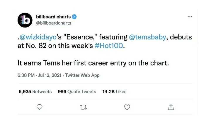 Tems Makes Her First Debut As Wizkid's 'ESSENCE' Makes Billboard's Hot 100