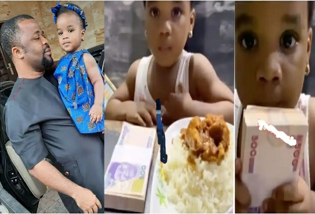 'This Is Not My Blood'- Actor Dike Osinachi Reacts After His Daughter Picked N50k Over A Plate Of Rice [VIDEO]