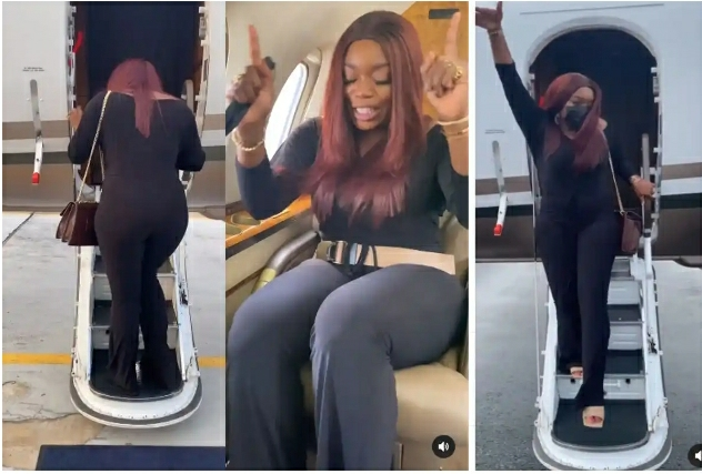 """""""Money Is Good In This Life""""- Actress Bisola Says As She Enters A Private Jet For The First Time [VIDEO]"""
