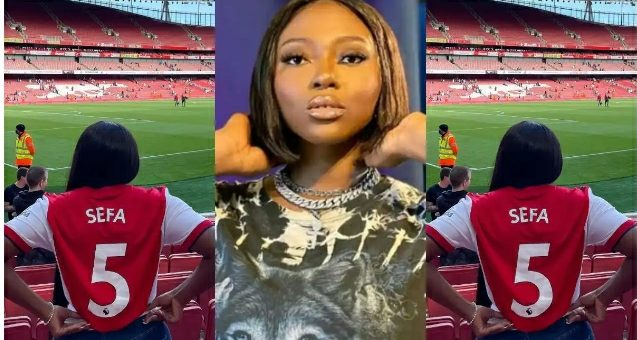 Sefa Storms Emirates Stadium For The First Time to Watch Her Darling Team Arsenal Against Chelsea (Photos)