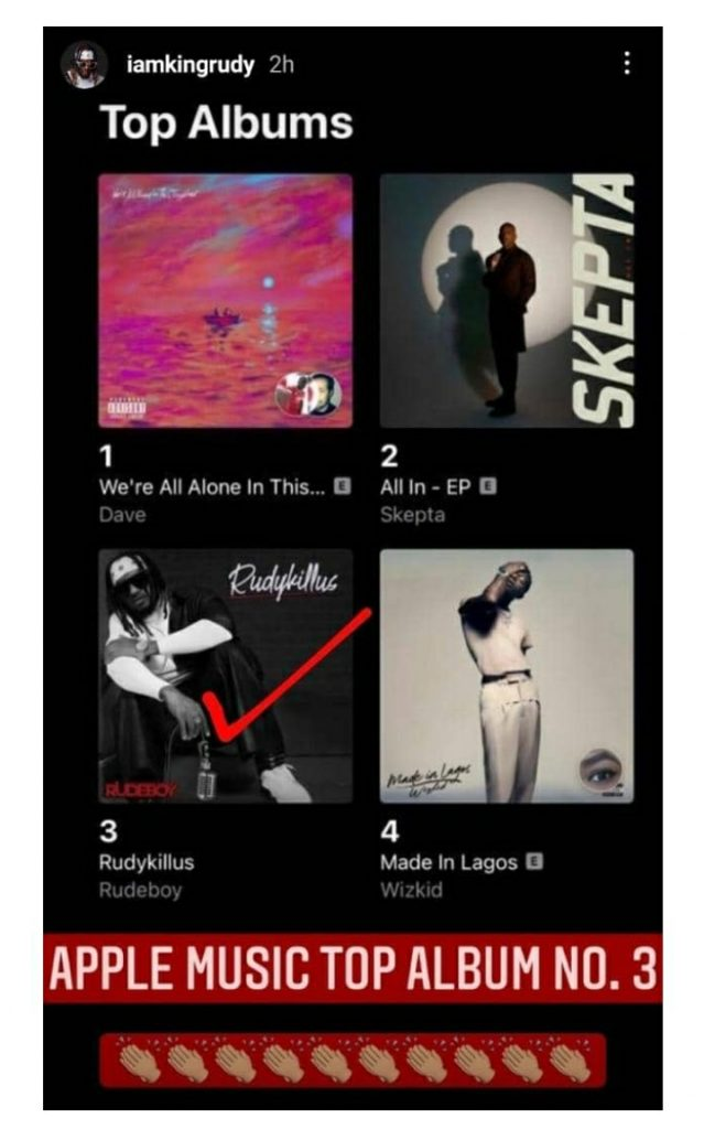 Rudeboy's Album Hit No. 3 On Apple Music Less Than 24hrs After Release